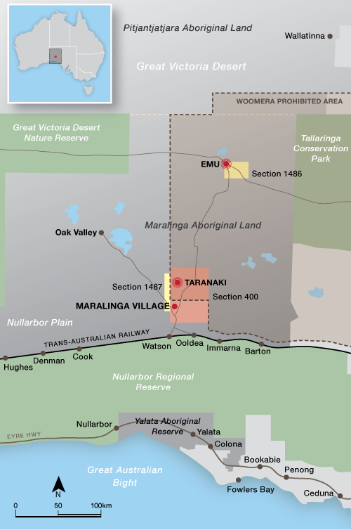 Emu and Maralinga atomic test areas in South Australia